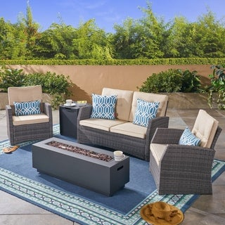 Sanger Outdoor 4 Seater Wicker Chat Set with Fire Pit by Christopher Knight Home