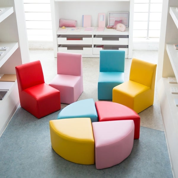shop kinbor kids sectional sofa preschool chairs with stool foam rh overstock com marshmallow sofa for toddlers sofa chair for toddlers