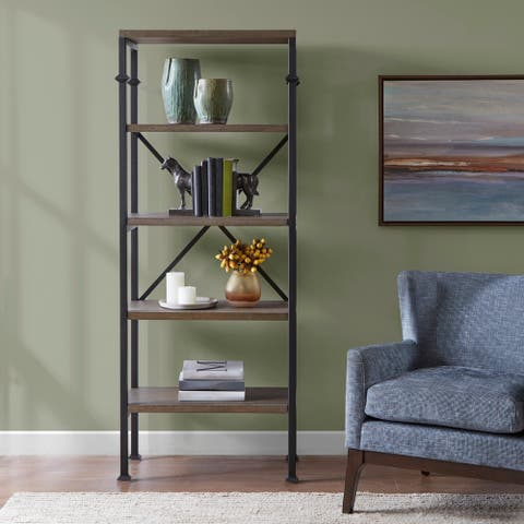 "Madison Park Brewer Grey Bookcase - 29""w x 14""d x 72""h"