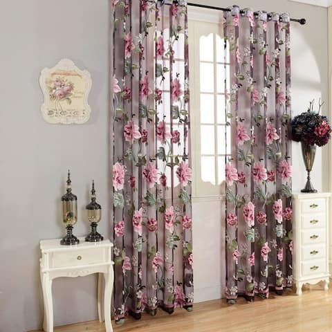 Floral Tulle Transparent Door Window Curtain Balcony Drape Panel