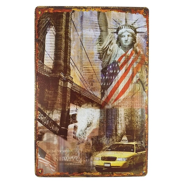"Vintage Statue of Liberty Metal Sign 8"" x 12"""