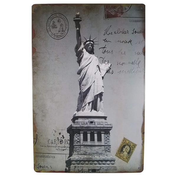 """Vintage Statue of Liberty Metal Sign 8"""" x 12"""""""