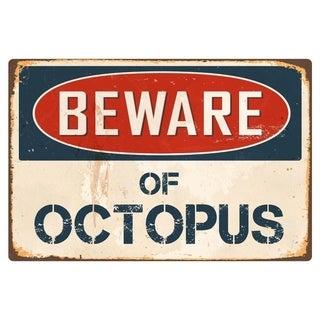"""Beware Of Octopus 8"""" x 12"""" Vintage Aluminum Retro Metal Sign"""