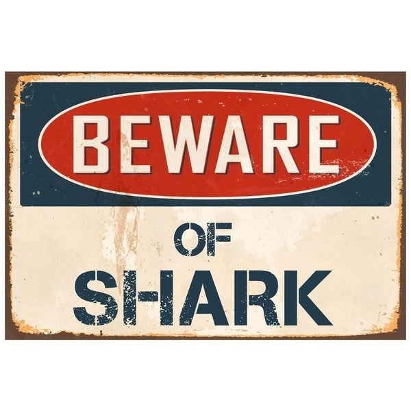 "Beware Of Shark 8"" x 12"" Vintage Aluminum Retro Metal Sign"
