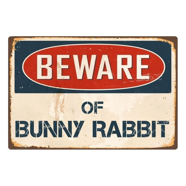 "Beware Of Bunny Rabbit 8"" x 12"" Vintage Aluminum Retro Metal Sign"