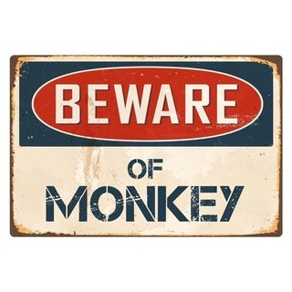 "Beware Of Monkey 8"" x 12"" Vintage Aluminum Retro Metal Sign"