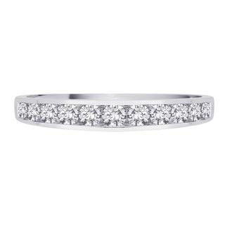 14K White Gold 1 2ct TDW Diamond Half Eternity Engagement Band I J I1