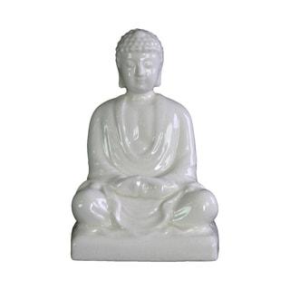 Urban Trends Ceramic Meditating Buddha Figurine without Ushnisha in Mida-No Jouin Mudra on Base in Gloss Finish - White