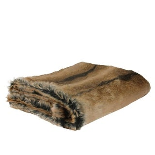 "Sophisticated Tawny Brown Faux Fur Super Soft Decorative Throw Blanket 50""x60"" - Full"