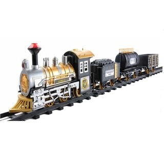 12-Piece Fast Forward Battery Operated Lighted Animated Classic Train Set with Sound - Black