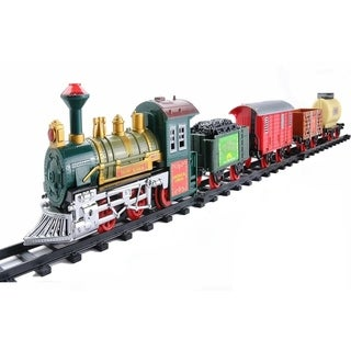 16-Piece Battery Operated Lighted Animated Continental Express Train Set with Sound - Red