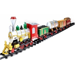17-Piece Battery Operated Lighted Animated Christmas Express Train Set with Sound - Red