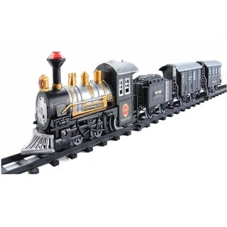17-Piece Consumate Model Battery Operated Lighted Animated Classic Train Set with Sound - Black