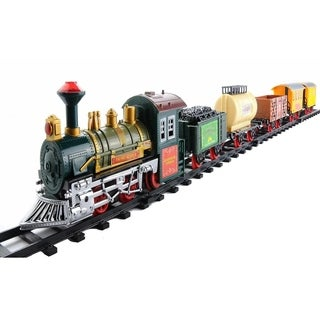 18-Piece Battery Operated Lighted Animated Continental Express Train Set with Sound - Red