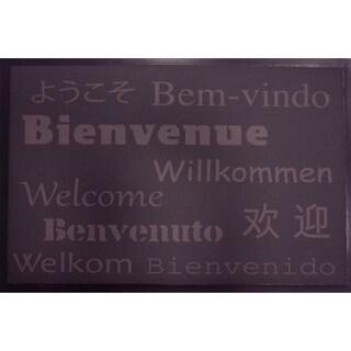 Evideco Indoor Printed Door Mat Bienvenue 2 PVC Polyester Rug 24x16 Inch Brown
