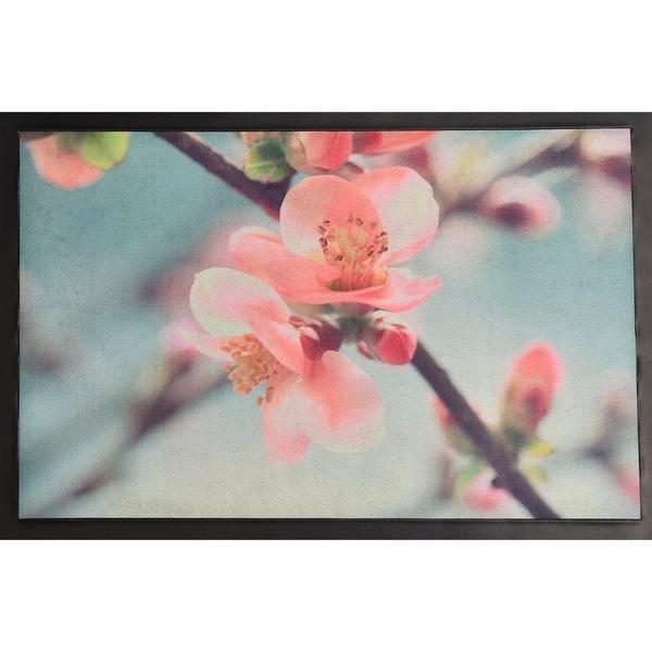 Evideco Indoor Printed Door Mat Flower PVC Polyester Rug 24x16 Inch Pink