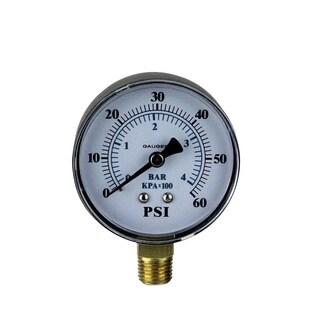 """3.25"""" (60mm) Side Mount Plastic Cover Pressure Gauge 0-60 PSI - Black"""