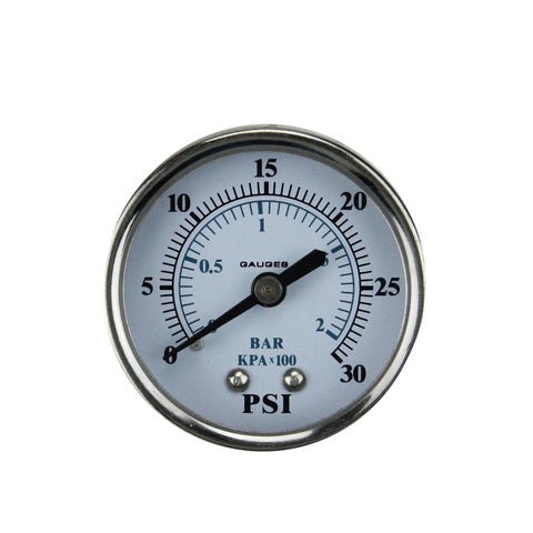"""2"""" (50mm) Back Mount Stainless Steal Pressure Gauge 0-30 PSI - Silver"""