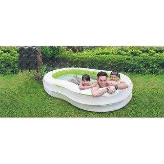 "94.5"" Large Green and White Inflatable Figure-8 Swimming Pool"