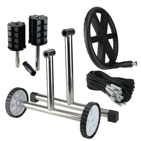 """21"""" In-Ground Pool Cover Reel System with Stainless Steel Frame For 4'' Tubes"""