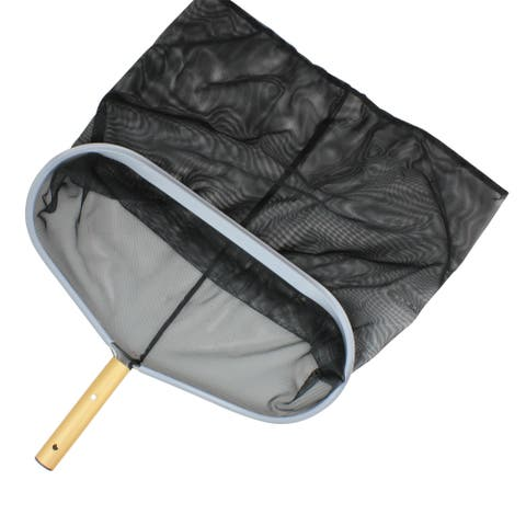 "18.5"" Professional Swimming Pool Leaf Rake Skimmer Head with Ultra-Deep Mesh Bag - Black"