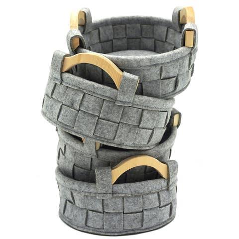 The Curated Nomad Sani Handmade Round Wood Handle Felt Baskets (Set of 4)