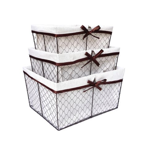 The Gray Barn Rise and Shine Handmade Lined Metal Wire Nesting Baskets (Set of 3)