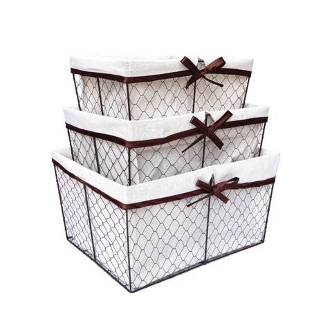 Handmade Metal Wire Lined Nesting Basket, Set of 3