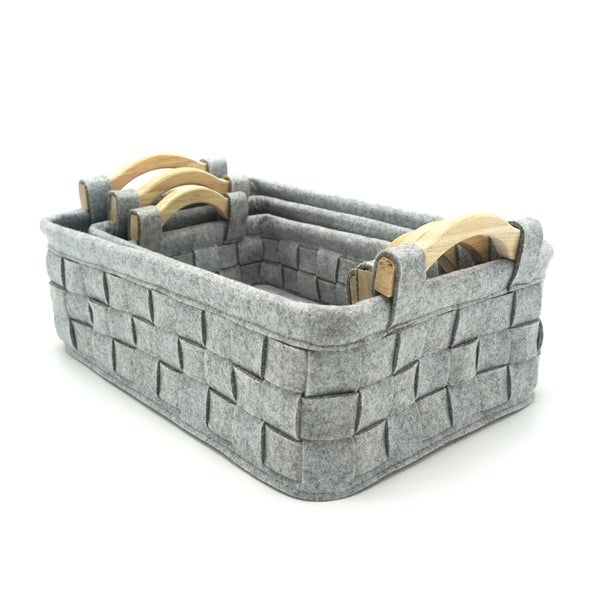 3-Piece Wood Handle Felt Nesting Basket Set