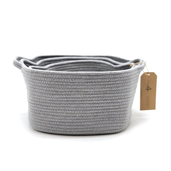 The Curated Nomad Sani Handmade Woven Fabric Nesting Baskets (Set of 3). Opens flyout.