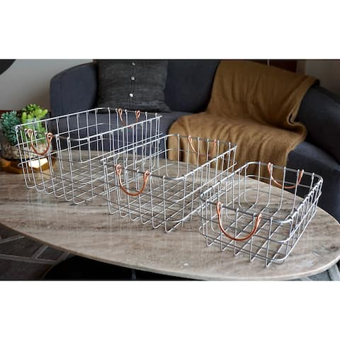 Handmade Metal Wire Nesting Basket, Set of 3