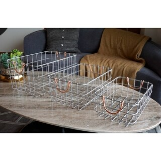 3-Piece Rectangular Metal Wire Nesting Basket Set by Handcrafted 4 Home