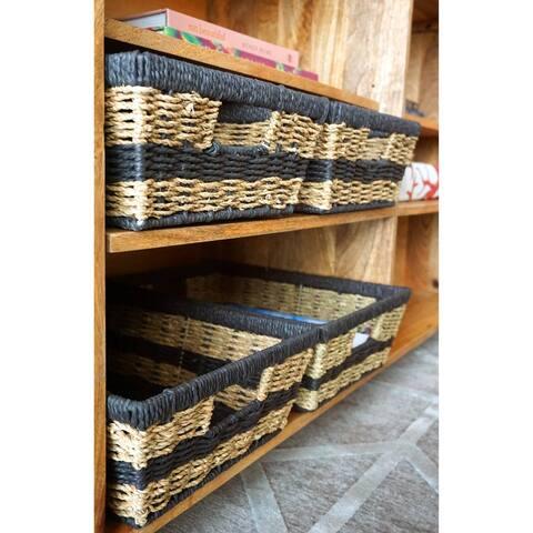 Handmade Maize Wicker Baskets, Set of 4