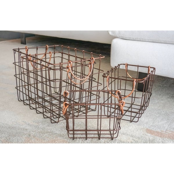 4-Piece Rectangular Metal Wire Nesting Basket Set by Handcrafted 4 Home