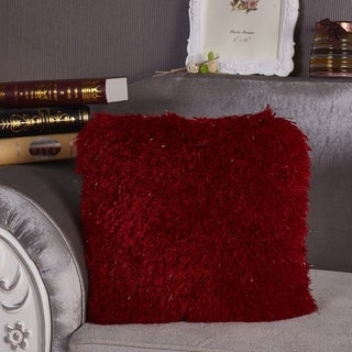 """Red Decorative Shaggy Pillow with Lurex. 100% Polyester. Exact dimensions are 18"""" x 18"""""""