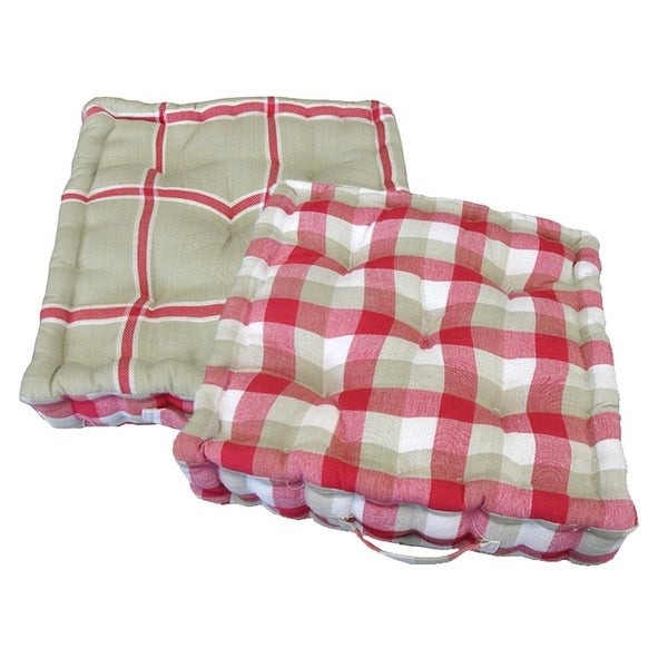 Shop 15 Quot Plush Pink White And Beige Plaid Reversible Indoor Chair Cushion Free Shipping Today