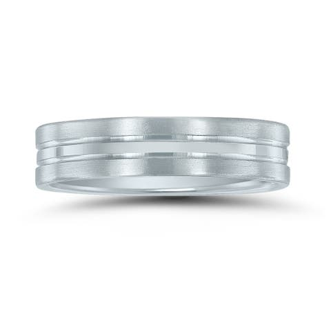 Men's 10K White Gold 5MM Wedding Band with Brushed Frost Finish