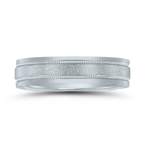 Men's 5mm Wedding Band with Stone Center Finish and Milgrain in 10K White Gold
