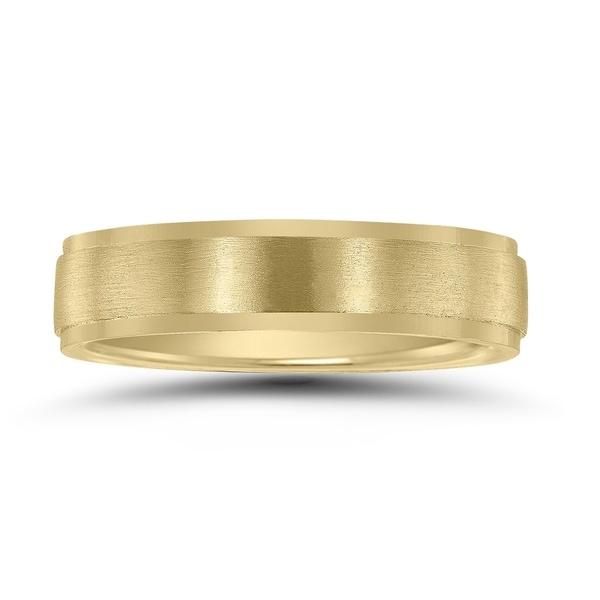 5mm Brushed Wedding Band 10K Yellow Gold