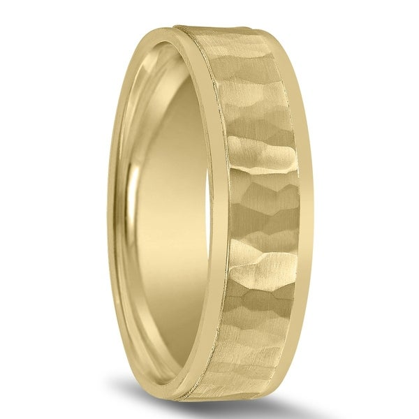 Hammered 6mm Wedding Band 10K Yellow Gold