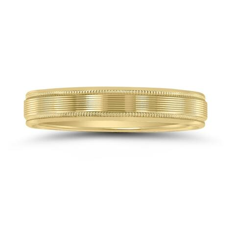 Men's 10K Yellow Gold 4mm Wedding Band with Ribbed Milgrain Center