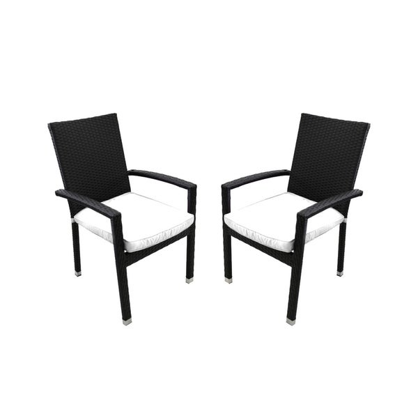 Set Of 2 Black Resin Wicker Outdoor Patio Furniture Dining Chairs White Cushions Free Shipping Today 22999436