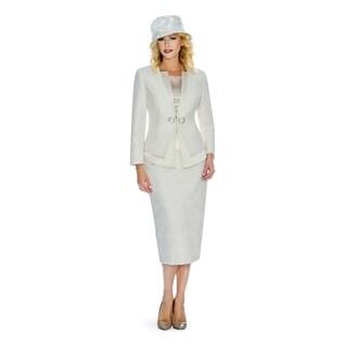 Giovanna Signature Women's Metallic Brocade 3-piece Skirt Suit