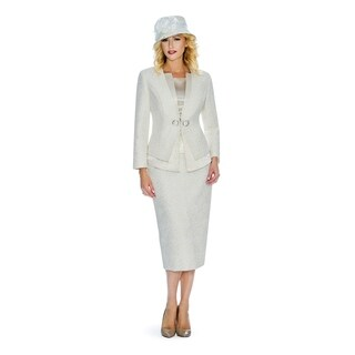 Giovanna Signature Women's Metallic Brocade 3-piece Skirt Suit
