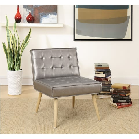 Amity Tufted Accent Chair in Sizzle Pewter Fabric with Solid Wood Legs