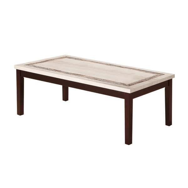 Beau Shop 29.5 Inch Ivory Faux Marbelized Granite Coffee Table   Free Shipping  Today   Overstock   22999510