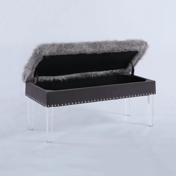 Shop 20 Inch Horice Faux Fur Nailhead Storage Bench With Acrylic Leg Free Shipping Today