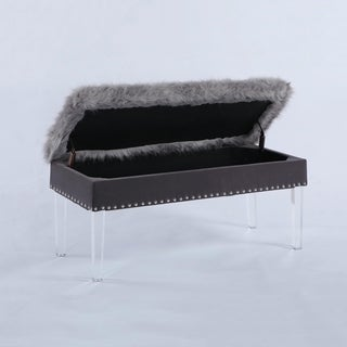 20 Inch Horice Faux Fur Nailhead Storage Bench with Acrylic Leg