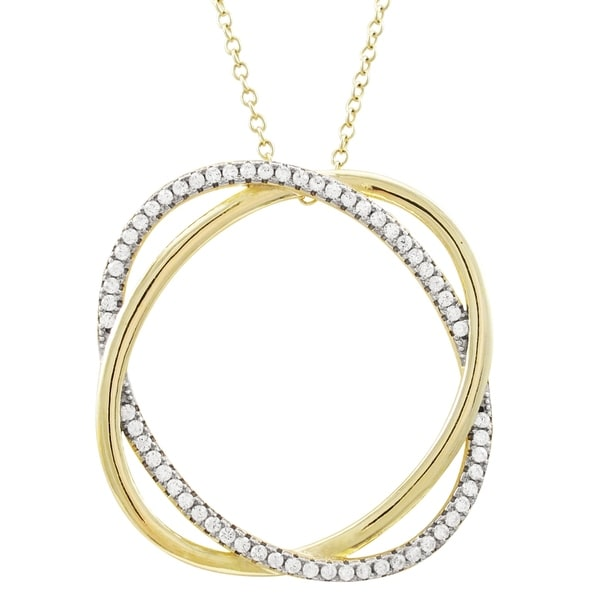 Luxiro Sterling Silver Two-tone Finish Cubic Zirconia Double Open Circle Pendant Necklace. Opens flyout.