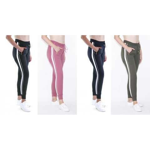 INDERO Women's Zip Pocket Side Stripe Joggers